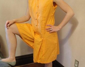 1960s Vintage Romper Jumpsuit Culottes Orange Button Down