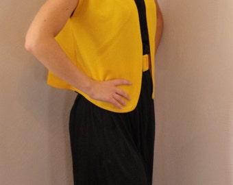 Vintage 1970s Dress Jacket Belt Black Yellow Size Small