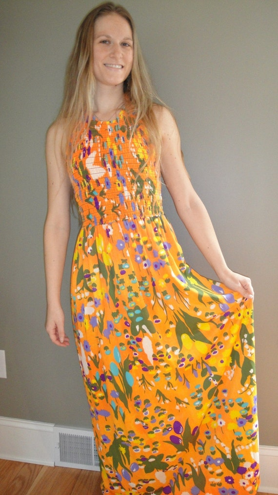 Vintage Neon Floral Halter Maxi Dress Size S or M by CraftySara on Etsy