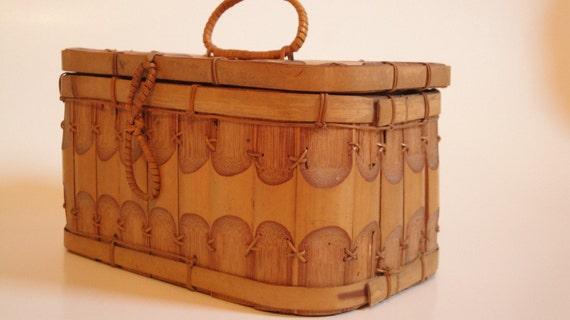 RESERVED PEARL 1940's Bamboo Sewing Basket with Darning Cotton and More