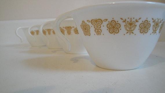 Vintage Corelle Butterfly Gold Hook Mugs Set of 10