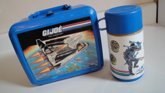 1980s Vintage GI Joe Lunch Box Thermos Aladdin Blue Plastic