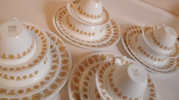 Vintage Corelle Butterfly Gold Dinner Service for 4
