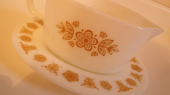 Vintage Pyrex Corelle Butterfly Gold Gravy Boat  with Under Plate