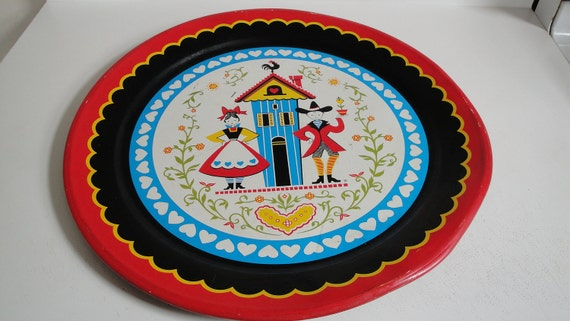 Large Tin Serving Tray Vintage Blue German Red Black Blue Round 19""
