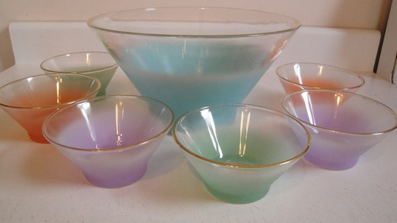 RESERVED angela Vintage Blendo Set Serving Bowl 6 Salad Bowls Rainbow 1960s