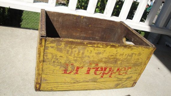 RESERVED for KELLY WILLS 1960s Dr. Pepper Wood Crate Vintage Yellow