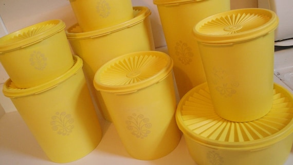 Vintage Tupperware Servalier Canister set of 8 Yellow with Lids