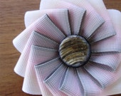 Grey and Pink Ombre Ribbon Brooch