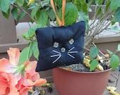 Black Cat Mini Pillow Halloween Door Hanger