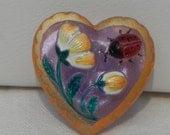 Ladybug and Flower Heart Czech Glass Button