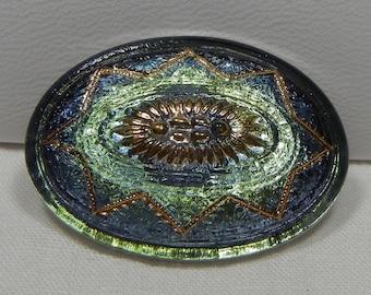Large Oval Czech Glass Button