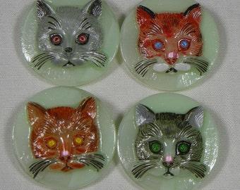 A Clowder of Cats Czech Glass Button
