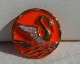 Sunset Swan Czech Glass Button