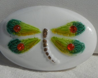 Oval Dragonfly Czech Glass Button
