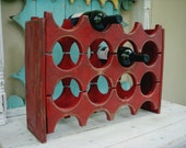 Wooden Wine Rack - Handcrafted - Holds 12 Bottles - Wine Bar Storage - Kitchen - Dining Room - Wet Bar - Wedding Gift Ideas - Rustic Home