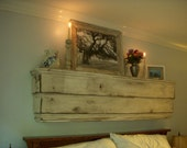 Furniture - Shelving - Kitchen - Bedroom Headboard - Wood - Handmade - Shabby - Floating Wall Shelf - Cottage White - Mounted - 50 Inches