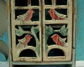 Bath - Bathroom - Kitchen Storage - Wooden Cabinet - Wood Cabinet - Rustic, Shabby Cottage, French Country - Song Birds - 20 x 12 x 5.5