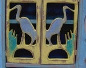 Medicine Cabinet - Wood Cabinet - Blue Herons - shabby - rustic - french country - paris apartment - 20 x 12 x 5.5