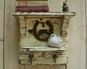 Rustic Home Decor - Wooden Shelf - Wooden - Horseshoe - Wood Display Shelf - Good Luck - OOAK - Storage Ideas - Entryway Decor