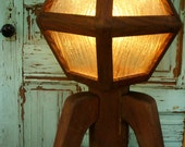 Rustic Home Decor - Mid Century Modern - Wooden Lamp Arts and Crafts Movement - Art Deco - Antique - OOAK