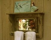 Mirror Shelf - Reclaimed Wood - Towel Bar for Bath - Shabby Elegance - French Country - Farmhouse