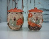 Vintage Japanese Ceramic Jar with Lid - Listing is for One Teacup - Tea - Left One Only - Other Has Sold
