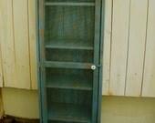 "Shabby Furniture - Pie Safe - Cabinet - Bookcase - Storage - Shelf - Wood - Wooden - Distressed Furniture - 60"" tall x 16"" deep x 16"" wide"