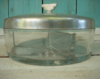 Vintage Glass Serving Dish with Silver Tin Lid 1940s - Glassware - Dishes - Candy Dish - Holiday - Housewares - Kitchen - Side Dish