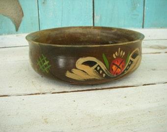Vintage - Folk Art - Hand Painted - Wood Bowl - Wood - Wooden - Catchall - Dresser Organizer - Bath Decor - Soap Holder - Bathroom - Kitchen