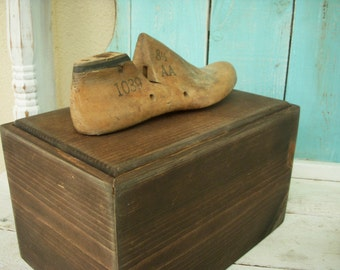 Wooden Box Storage - Shoe Shine Box - Gift Idea - Shoe Last - Antique - Rustic Box Organizer - Organization - Knick Knacks - Remote Control