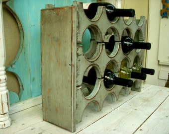 Wooden - Wine Rack - Shabby - French Cottage - Country Decor - Wine Storage - Wet Bar - Home Decor - Gift Ideas - Wood Storage - Kitchen