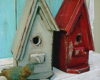 Wooden Birdhouse - Shabby A Frame Birdhouse - One Birdhouse