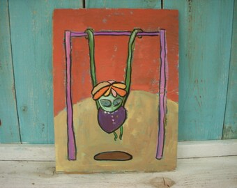 Vintage Painting - Original Artwork - 1970's - Alien Monster on Monkey Bars