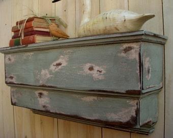 Floating Wooden Wall Shelf - Shabby Decor - Mantel - 31 Inch