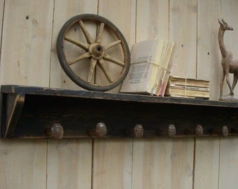 The Original Railroad Spike Shelf by Honey's Treasures - Wall Shelves - Train - Spikes - Hooks - 50 x 6 x 6