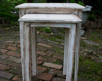 Wood Table - Side Table - Bedroom - Living Room - Shabby - Wooden Furniture - Cottage Chic - French Country - Set of Two - Nesting Tables