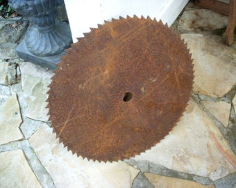 Rusty - Large Rusted Saw Blade - Antique Farm Tool - Industrial Decor - Decorative - Farmhouse Chic - Country Style Home Decor
