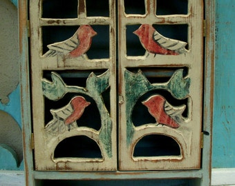 Medicine Cabinet - Bathroom - Bath - Kitchen - Rustic - Wood Cabinet - Rustic, Shabby Cottage, French Country - Song Birds - 20 x 12 x 5.5