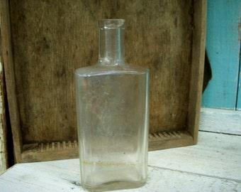 Antique Medicine or Bitters Bottle 1800's Old Bottle Bottles Vintage Clear Glass Kitchen Rustic Home Farmhouse Decor Rustic Cabin Decor