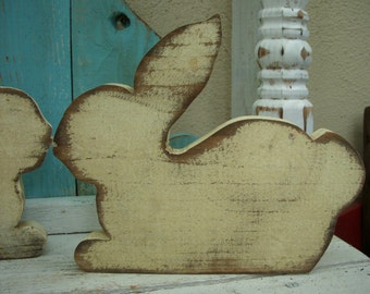 Wood Rabbit - Bunny - Home Decor - Rustic Wood - Pine Wood - Salvage Wood - Home Decor - Handmade Wooden Rabbit - Color Choice -