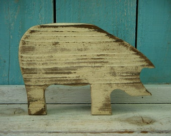 Handmade Wooden Pig in Your Antiqued Color Choice - Using Reclaimed Old Wood