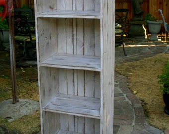 "Bookcase - Wooden Shelf - Rustic - Shabby Furniture - Shelves - Solid Wood - Linen Cabinet - 56"" tall x 12.5"" deep x 18"" wide at widest part"