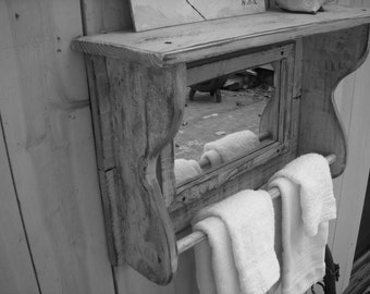 Shelf with Mirror - Reclaimed Wood - Towel Bar for Bath - Cottage Chic - French Country - Farmhouse