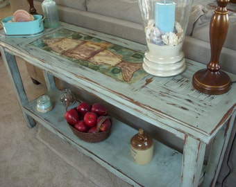 Console Table - Wood Table - Shabby Beach Cottage - Sofa - Buffet Table - Reclaimed Wooden Furniture - Rustic Home Decor - Best Selling