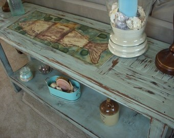 Console Table - Rustic Home Decor - Wooden Sofa Table - Shabby Beach Cottage - Wooden Buffet Table - Entryway - Entry