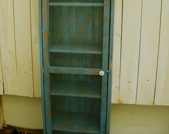 "Shabby Furniture - Pie Safe - Cabinet - Bookcase - Storage - Shelf - Wood - Wooden - Distressed Furniture - 60"" tall x 16"" deep x 16"" wide"
