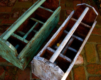Rustic Tool Caddy Box - Dividers - Cottage Chic, French Country - Handmade Reclaimed Wood