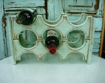 Handmade Wooden Wine Rack - Holds 6 Bottles - Handcrafted of Wood - Dining Room Storage - Kitchen Wine Bar - Wedding Gift Ideas - Wet Bar