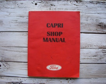 Vintage - 1970 Ford - Capri- Car Auto Manual - Automotive Repair - Restoration - Automobile - Book - Red - Vintage - 70s